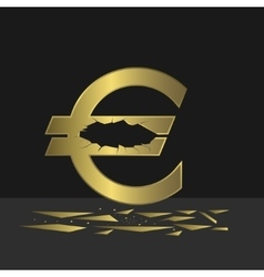 Cracked Euro sign vector image