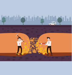 Cryptocurrency concept with businessman miner and vector