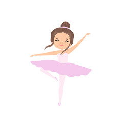 Cute brunette little ballerina dancing girl vector