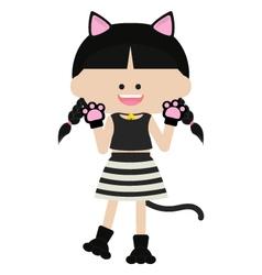Cute cat woman vector image