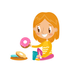 Cute redhead girl sitting on the floor and eating vector
