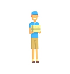 Delivery worker in blue t-shirt holding small vector