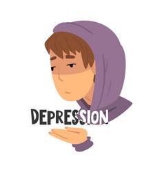 Depression teen problem upset teenager boy in vector