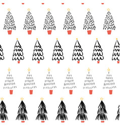doodle christmas trees black on white seamless vector image