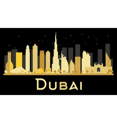 Dubai city skyline with golden skyscrapers vector