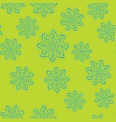 Endless stylized flowers design on greenish vector