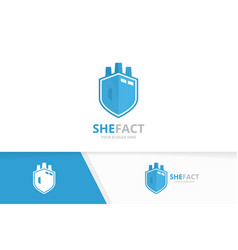 factory and shield logo combination vector image