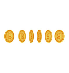 flat bitcoin golden coins set icon vector image