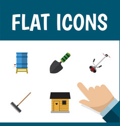 Flat icon dacha set of harrow trowel grass vector
