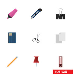 Flat icon equipment set of marker dossier vector