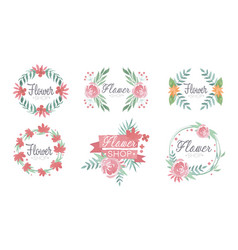 flower shop logo templates set florist boutique vector image