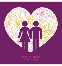 flowers outlined couple in love silhouettes vector image