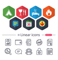 food sleep camping tent and fire signs vector image