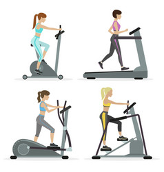 girls with cardio equipments vector image