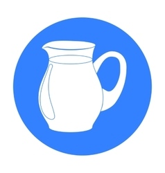 Glass jug of milk icon in black style isolated on vector image