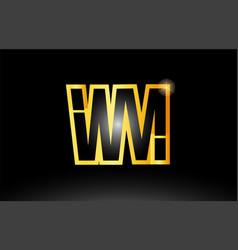 Gold black alphabet letter wm w m logo vector