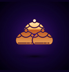 Gold jewish sweet bakery icon isolated on dark vector