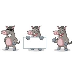 Gray Wild Pig Mascot happy vector image