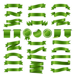 green ribbons and labels set white background vector image