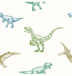 Hand drawn dinosaurs seamless background vector