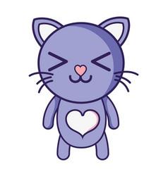 Happy cat cute feline animal vector