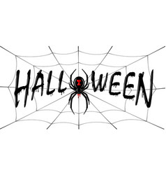 happy halloween card drip text spider web vector image