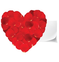 Heart of red petals and blank white paper vector image