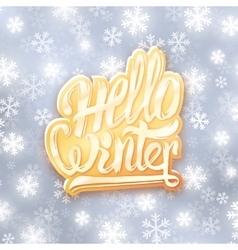 Hello winter golden typography label Greeting vector