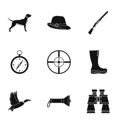 Hunting in forest icons set simple style vector