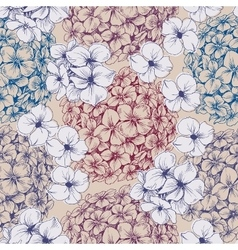 Hydrangea seamless pattern Retro floral background vector