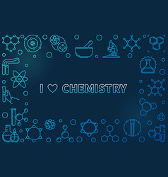 i love chemistry linear frame with empty vector image