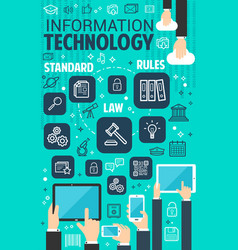 Information technology internet poster vector