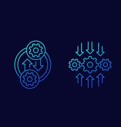 Integration or optimization line icons art vector
