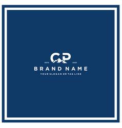 Letter cp mountain logo design vector