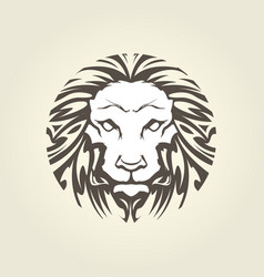 Lion head in tattoo style - muzzle front view vector