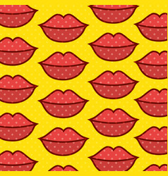 Lips pop art pattern vector