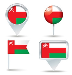 Map pins with flag of Oman vector image