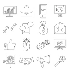 Marketing items icons set outline style vector