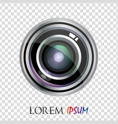 Modern realistic flat lens logo design isolated vector