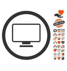 Monitor icon with dating bonus vector