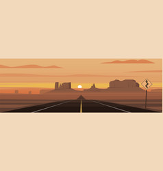Monument valley national park scene panoramic vector