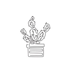 one continuous line drawing cute potted vector image