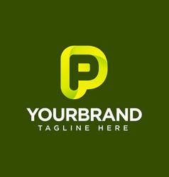 p gradient logo icon template vector image