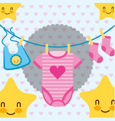 pink and blue clothes for baby stars cartoon vector image