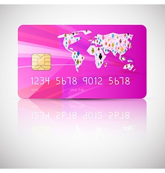 Pink Credit Card Isolated on Grey Background vector image