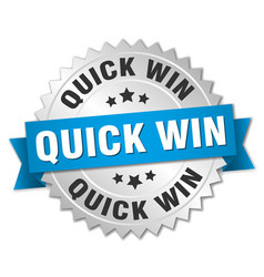 Quick win round isolated silver badge vector