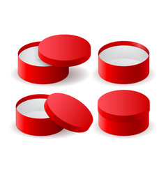 red box round decoration gift box vector image