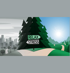 road junction and relax or stress indication signs vector image