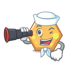 sailor with binocular hexagon mascot cartoon style vector image