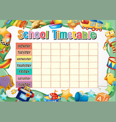 School timetable template with toys vector